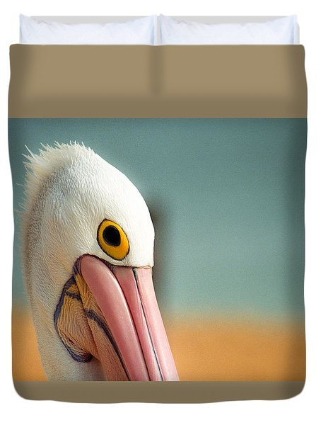 Duvet Cover featuring the photograph Up Close And Personal With My Pelican Friend by T Brian Jones