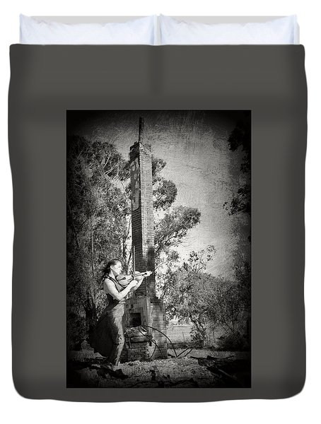 Up From The Ashes Girl With Violin Duvet Cover