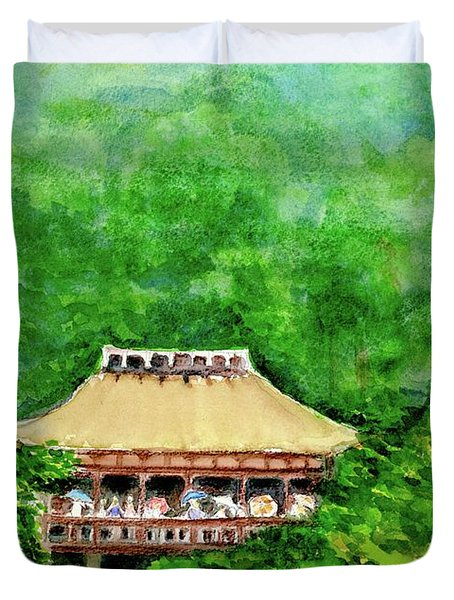 Duvet Cover featuring the painting Up High Temple by Yoshiko Mishina