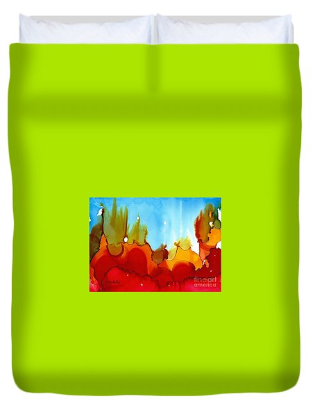 Up In Flames Duvet Cover by Yolanda Koh