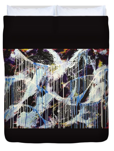 Duvet Cover featuring the painting Up In The Air by Sheila Mcdonald