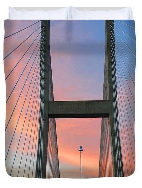 Duvet Cover featuring the photograph Up On The Bridge by Kathryn Meyer