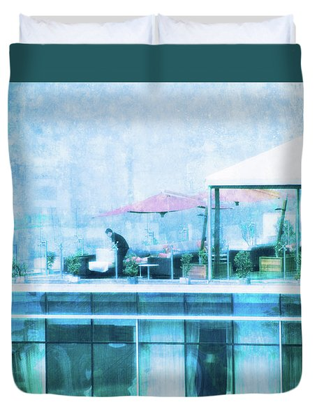 Duvet Cover featuring the digital art Up On The Roof - II by Mary Machare