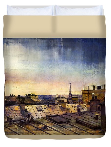Duvet Cover featuring the photograph Up On The Roof by John Rivera