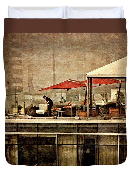Duvet Cover featuring the photograph Up On The Roof - Miraflores Peru by Mary Machare