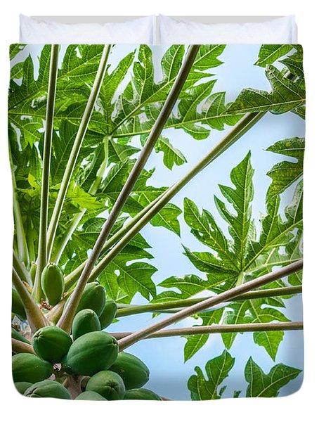 Up The Papaya Duvet Cover