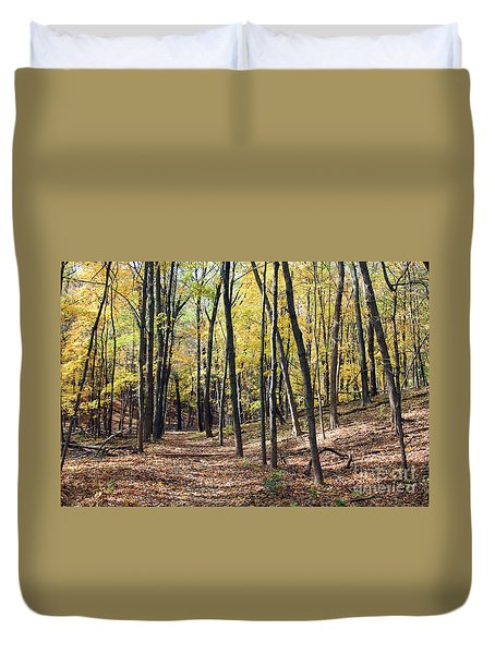 Up The Woodland Trail Duvet Cover