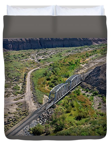 Duvet Cover featuring the photograph Up Tracks Cross The Mojave River by Jim Thompson