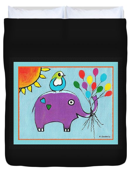 Duvet Cover featuring the painting Up Up And Away-border by Kathleen Sartoris