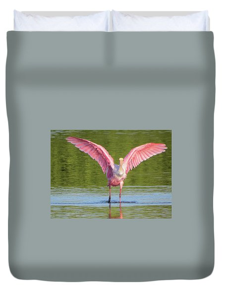 Up, Up And Away Sanibel Spoonbill Duvet Cover