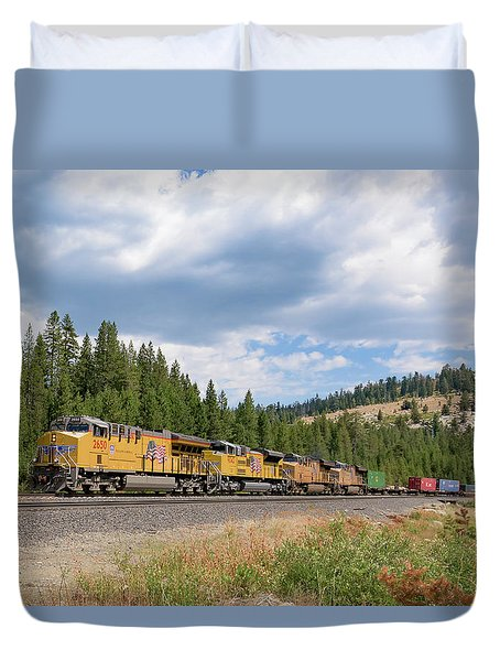 Duvet Cover featuring the photograph Up2650 Westbound From Donner Pass by Jim Thompson