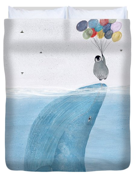Duvet Cover featuring the painting Uplifting by Bri B
