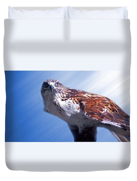 Upon His Perch Duvet Cover by Greg Slocum