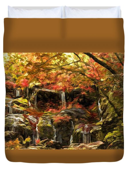 Upper Catawba Falls North Carolina Duvet Cover