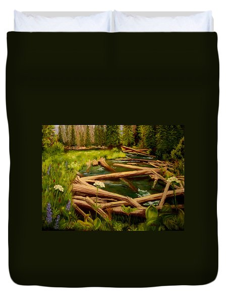 Duvet Cover featuring the painting Upper Deschutes by Nancy Jolley