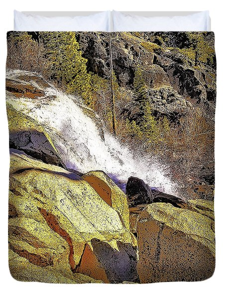 Duvet Cover featuring the photograph Upper Eagle Falls by Nancy Marie Ricketts