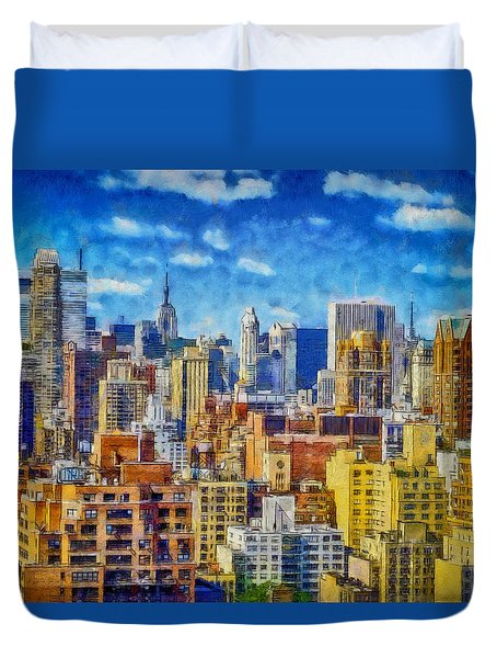 Duvet Cover featuring the digital art Upper Eastside Skyline by Kai Saarto