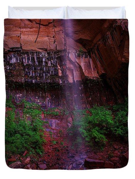 Upper Emerald Pools Fall Zion National Park Duvet Cover