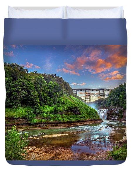 Upper Falls At Sunset Duvet Cover