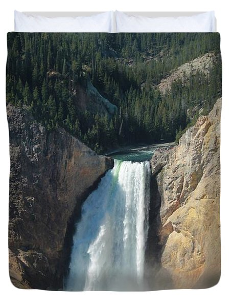 Upper Falls, Yellowstone River Duvet Cover