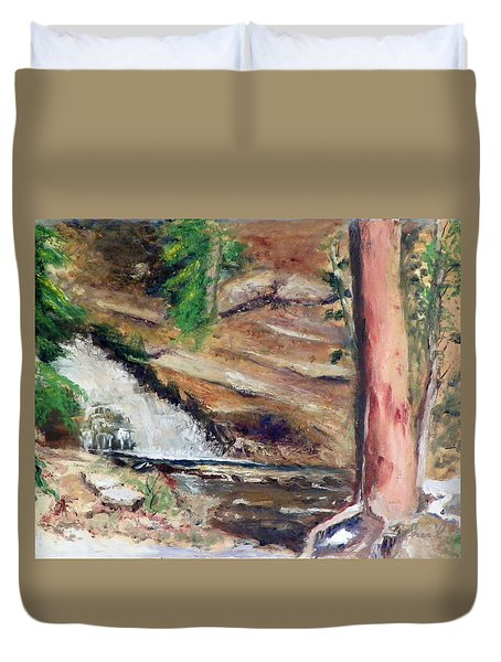 Upper Provo River Falls Duvet Cover