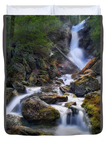 Duvet Cover featuring the photograph Upper Race Brook Falls 2017 by Bill Wakeley
