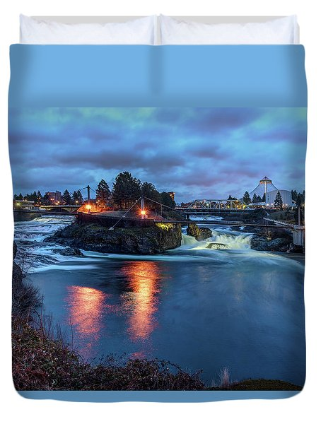 Upper Spokane Falls At Dusk Duvet Cover