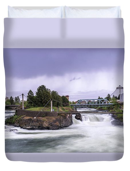 Upper Spokane Falls On A Rainy Day Duvet Cover