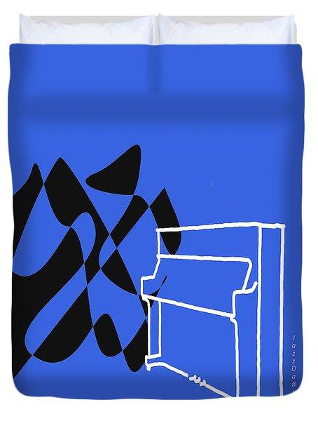 Upright Piano In Blue Duvet Cover by David Bridburg