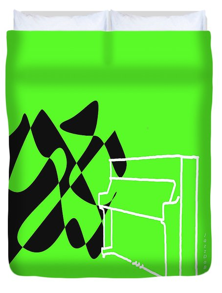 Upright Piano In Green Duvet Cover by David Bridburg