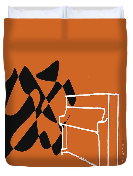 Upright Piano In Orange Duvet Cover by David Bridburg