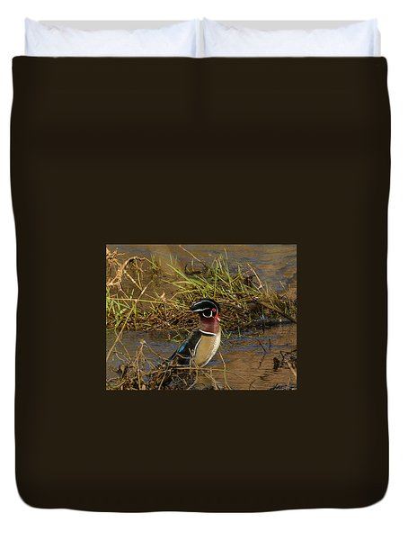 Upright Wood Duck Duvet Cover