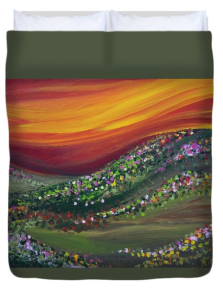 Duvet Cover featuring the painting Ups And Downs by Ashley Price