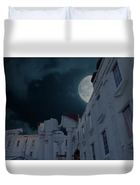 Upside Down White House At Night Duvet Cover