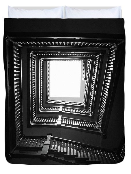 Upstairs- Black And White Photography By Linda Woods Duvet Cover