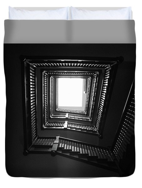 Duvet Cover featuring the photograph Upstairs- Black And White Photography By Linda Woods by Linda Woods