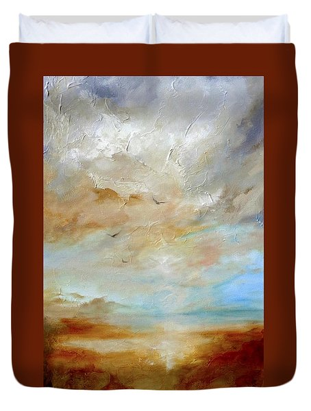 Duvet Cover featuring the painting Upwardly Mobile by Dina Dargo