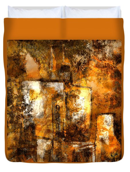 Duvet Cover featuring the mixed media Urban #3 by Kim Gauge
