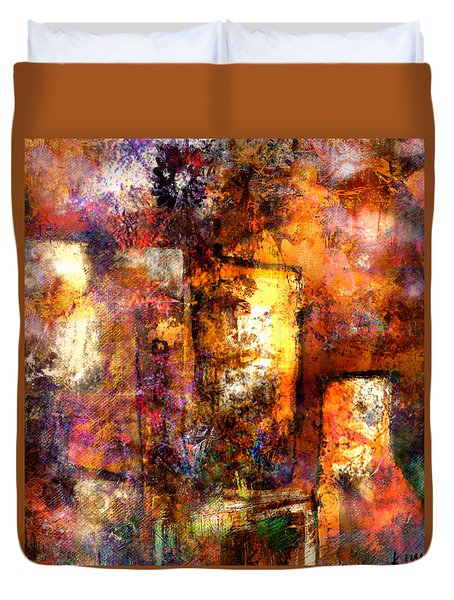 Duvet Cover featuring the mixed media Urban #4 by Kim Gauge