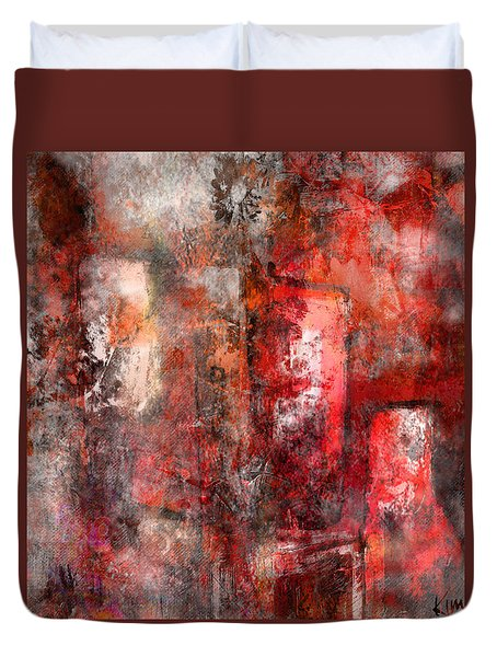 Duvet Cover featuring the mixed media Urban #5 by Kim Gauge