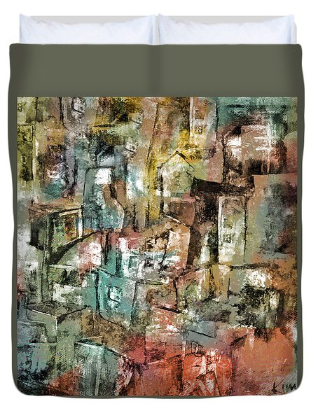 Duvet Cover featuring the mixed media Urban #6 by Kim Gauge
