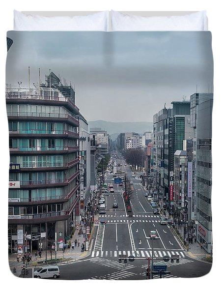 Urban Avenue, Kyoto Japan Duvet Cover