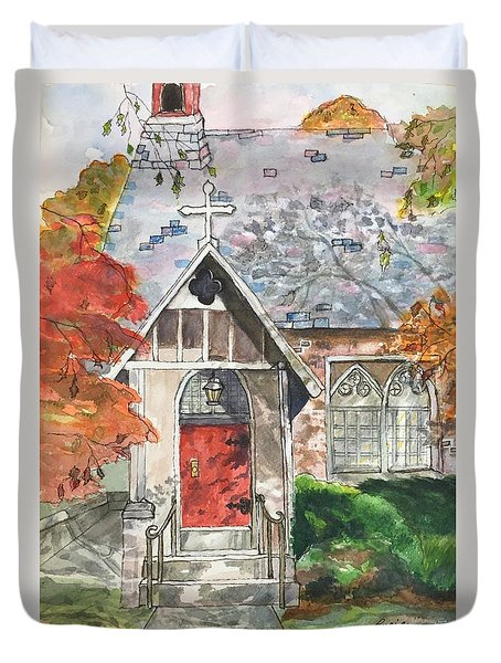 Duvet Cover featuring the painting Urban  Church Sketching by Lucia Grilletto