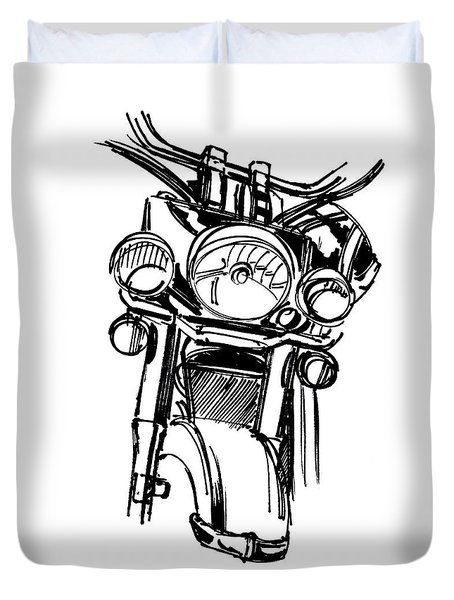 Urban Drawing Motorcycle Duvet Cover by Chad Glass