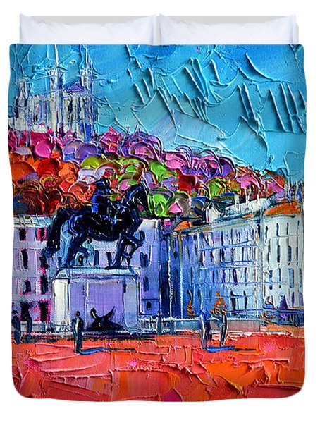 Urban Impression - Bellecour Square In Lyon France Duvet Cover