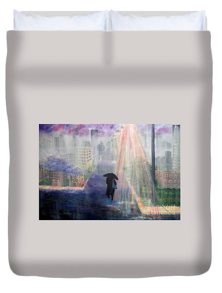 Duvet Cover featuring the painting Urban Life by Saundra Johnson