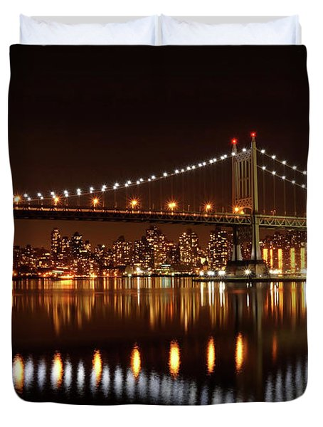 Urban Night Reflection Duvet Cover