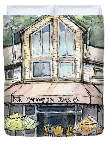 Coffee Shop Watercolor Sketch Duvet Cover
