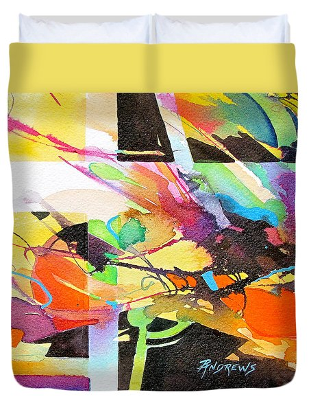 Duvet Cover featuring the painting Urban Threads by Rae Andrews