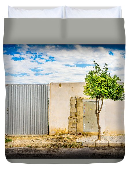 Duvet Cover featuring the photograph Urban Tree. by Gary Gillette